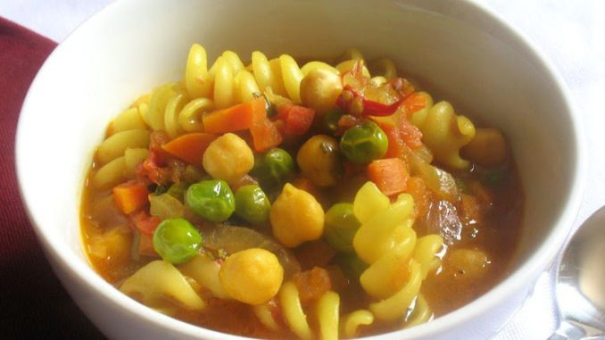 Summery Tomato Soup with Pasta and Chickpeas