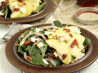 Pear, Goat Cheese and Spinach Salad with Warm Maple-Bacon Dressing