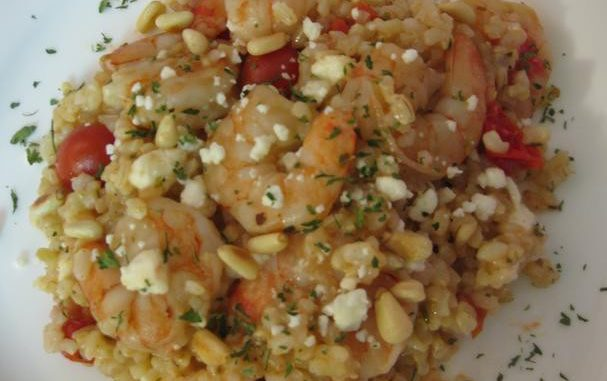 Shrimp With Tomatoes, Feta, and Pine Nuts