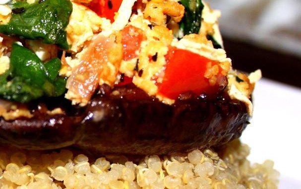 Vegan Stuffed Portobello Mushroom over Quinoa