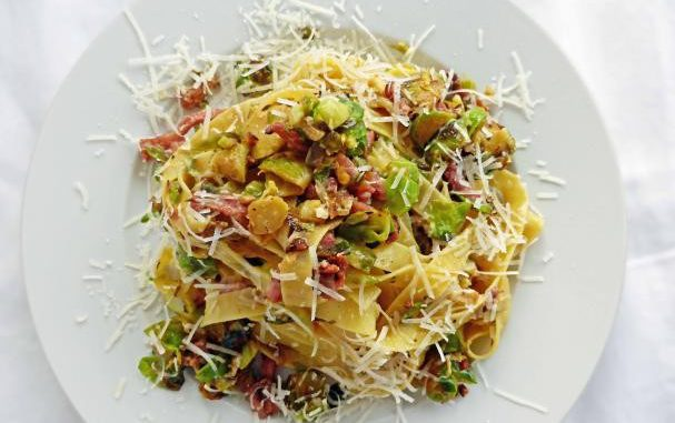 Brussels Sprout Carbonara with Fettuccini