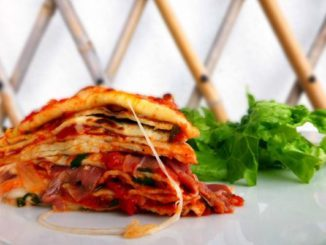 Crespelle with Mozzarella, Parma Ham and Tomato Sauce