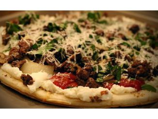 Elk Italian Sausage Pizza With Ricotta Cheese, Sautéd Mushrooms and Onion