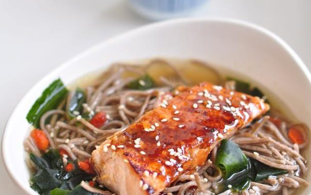 Soba Noodle In Kombu Dashi With Teriyaki Salmon