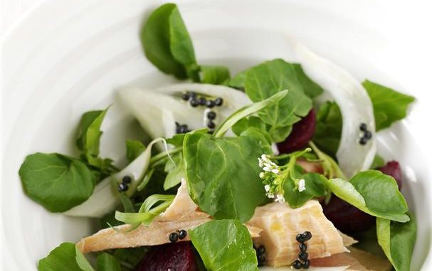 """Salmon, Watercress, Fennel and Baby Beetroot Salad With Lemony """"Caviar"""" Dressing"""
