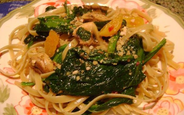 Baby Spinach With Fettuccini, Apricots & Walnuts