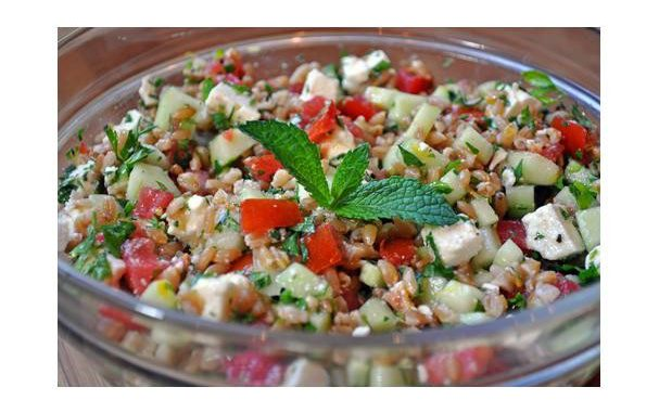 Farro Salad With Tomatoes, Cucumber, Mint and Feta