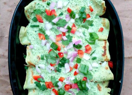 French Inspired Poblano Crepe 'Enchiladas'