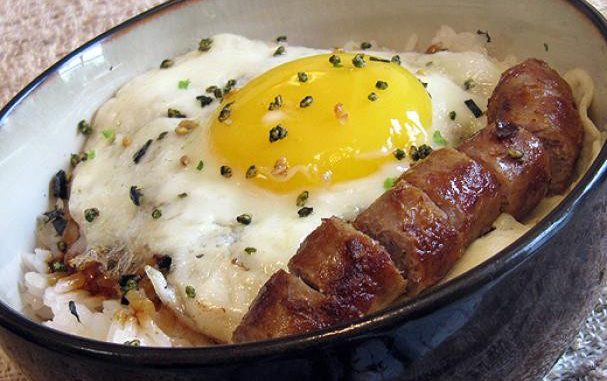 Rice with Fried Egg and Sausage