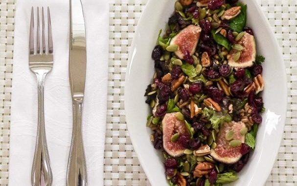 Mixed Green Farro Salad And Fresh Figs