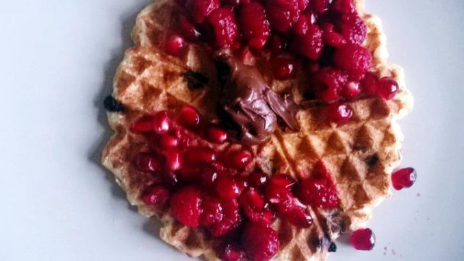 Pomegranate-Nutella Waffles