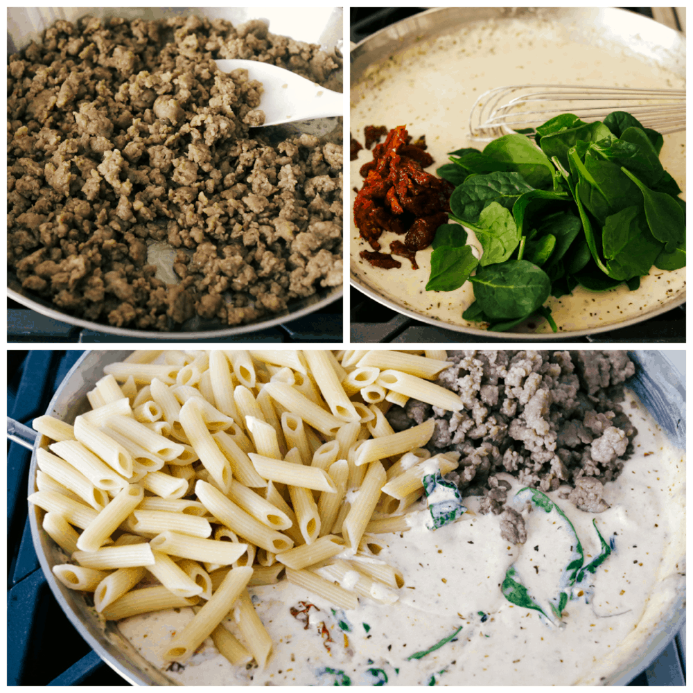Cooking the sausage, making the cream sauce and mixing it all together in the pan.