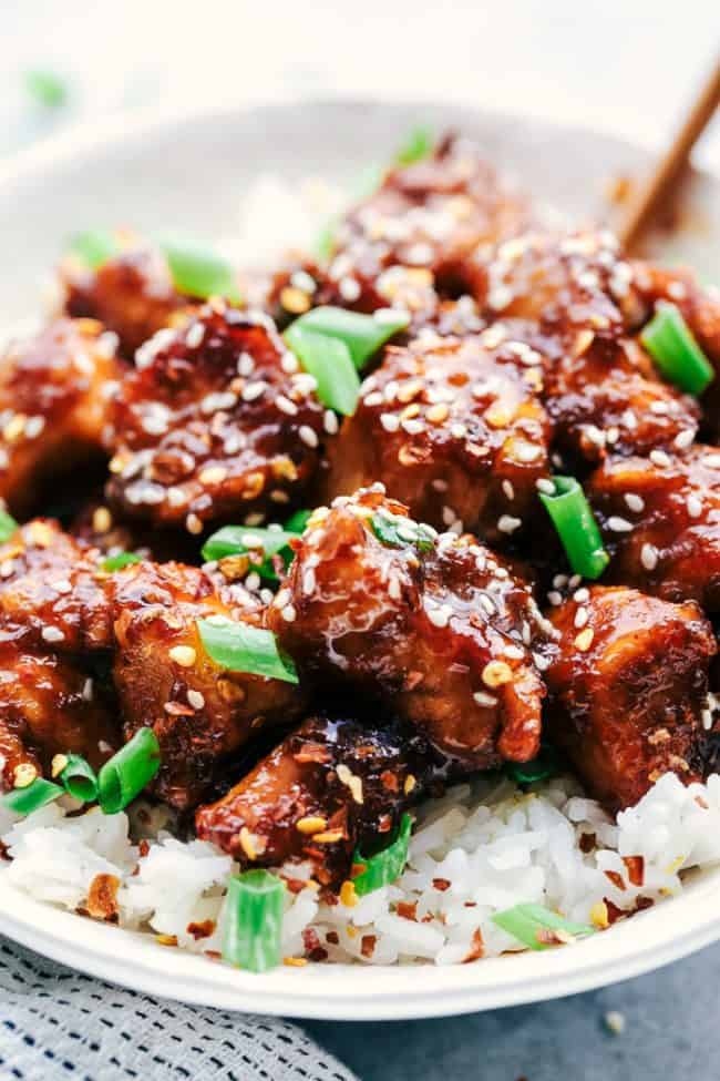Slow Cooker General Tso's Chicken over white rice.