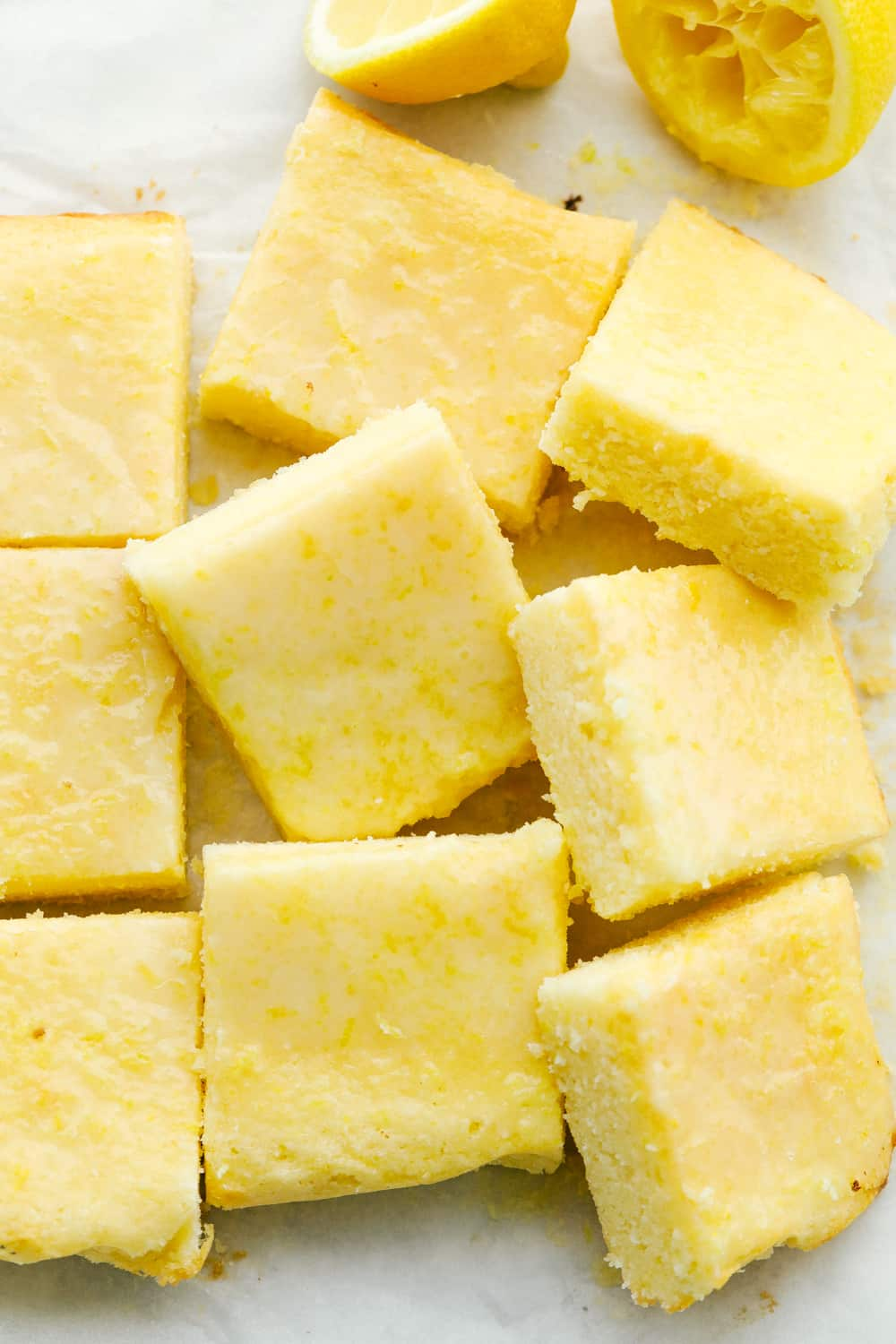Lemon Brownies cut into squares ready to eat.