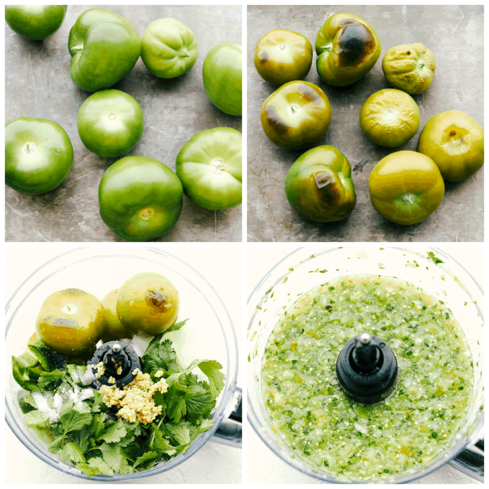 Tomatillos, roasted and other ingredients in food processor.