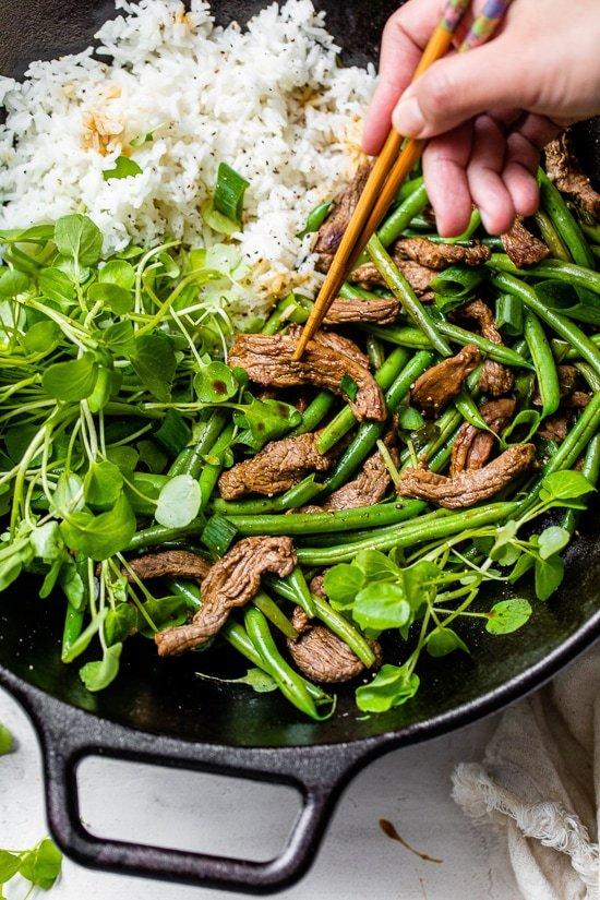Beef Negimaki Stir Fry with Green Beans