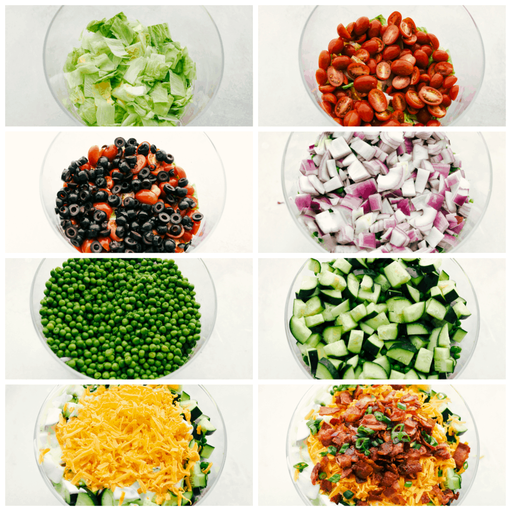 Each layer of your 7 layer salad.