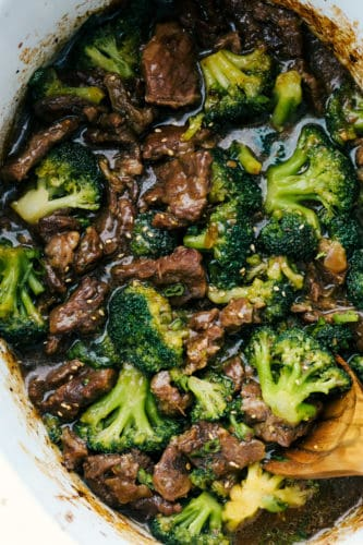 Beef and Broccoli in the slow cooker.