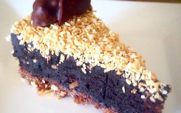 No-bake Toasted Coconut Chocolate Cake with Chocolate Macaroon Cookies