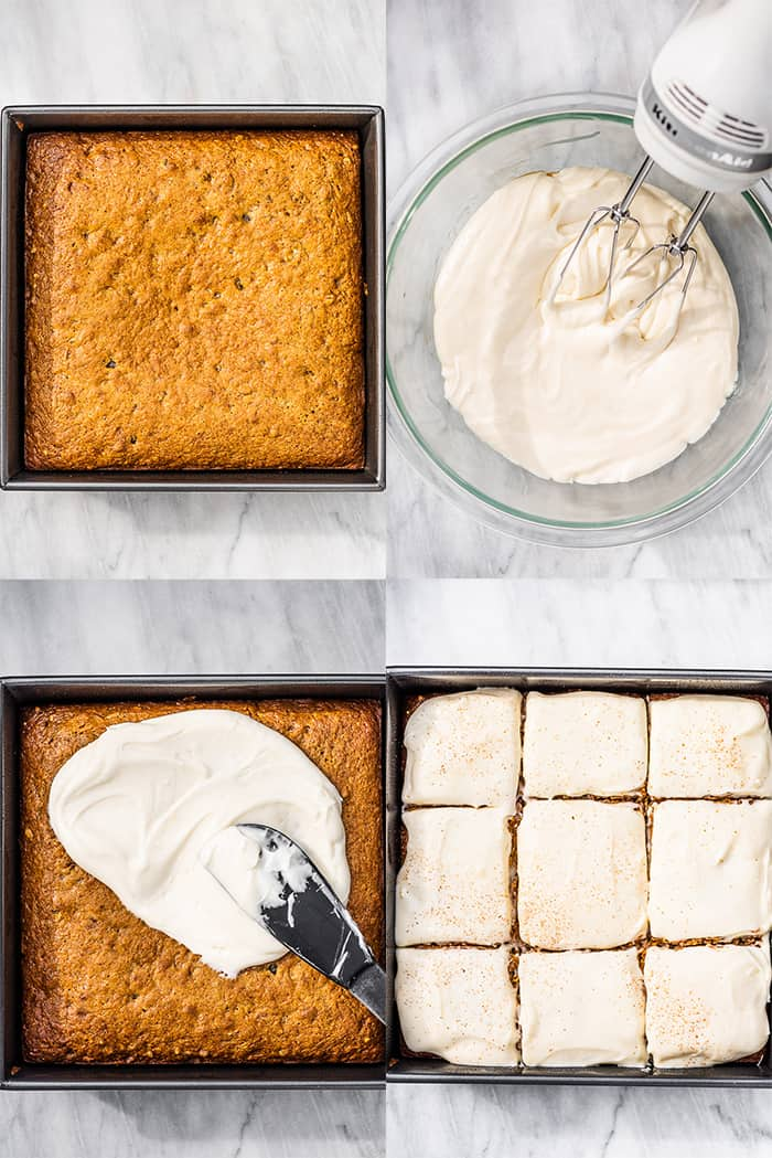 4 pictures showing how to make carrot cake bars.