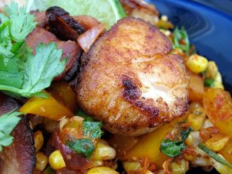 Pan Seared Shrimp & Scallops Over Bacon-Corn-Chile Relish