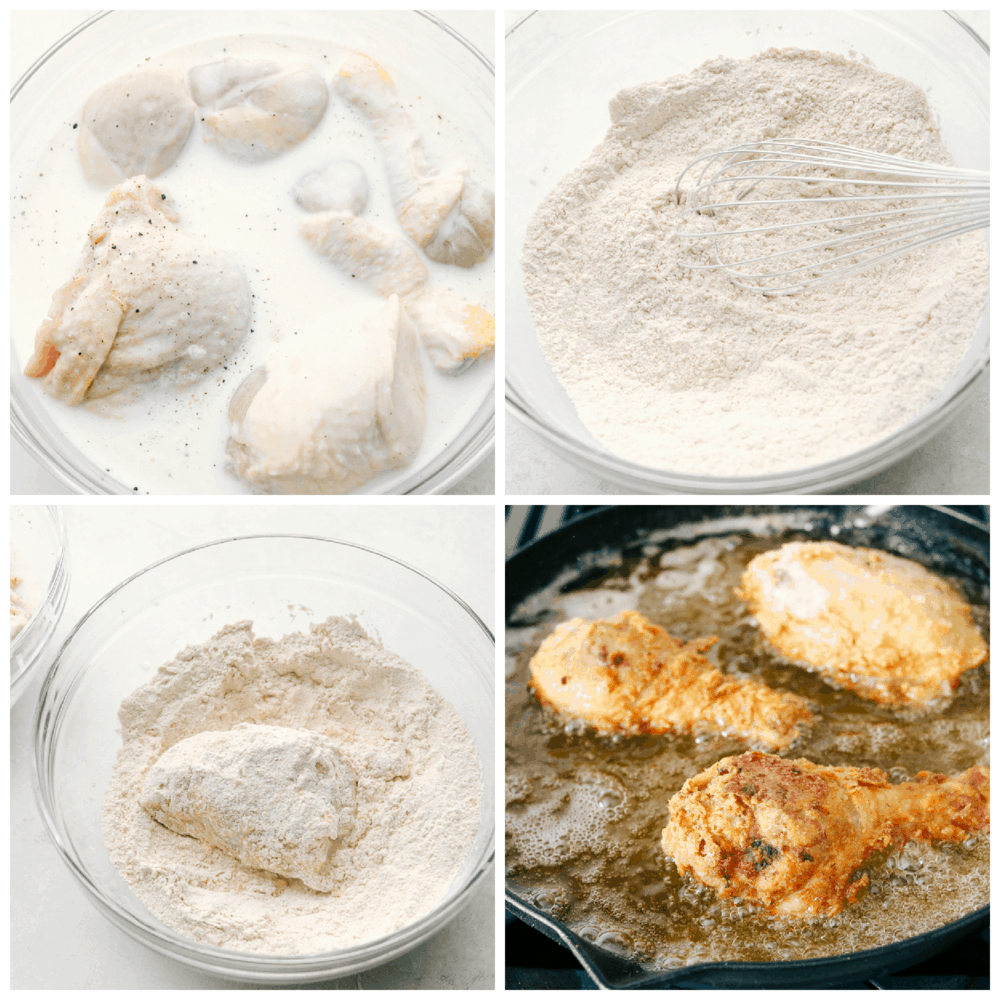 Marinating, breading and frying chicken.