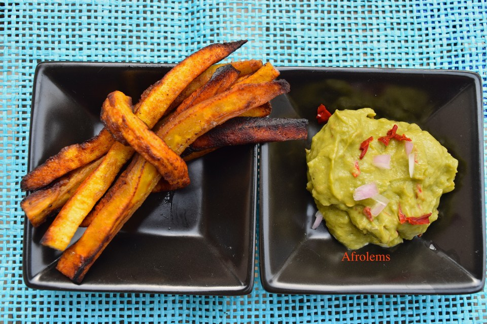 buttered plantain fries and seasoned avocado