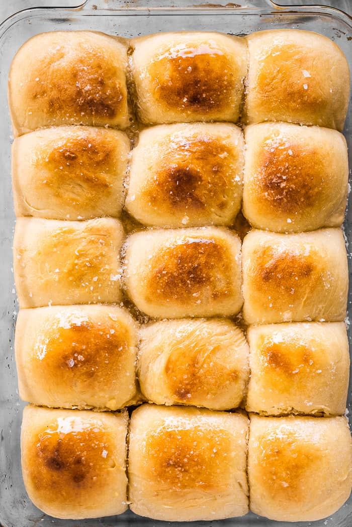 A tray of pull apart potato rolls.