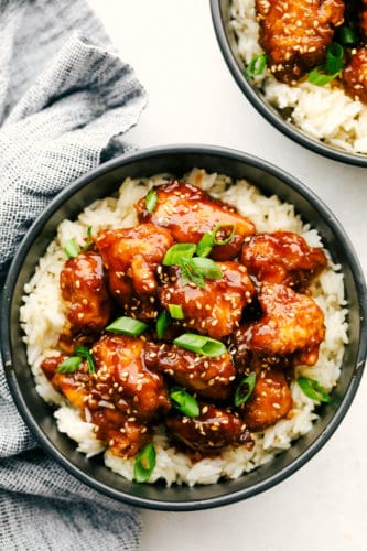 Honey baked chicken in a bed of rice.