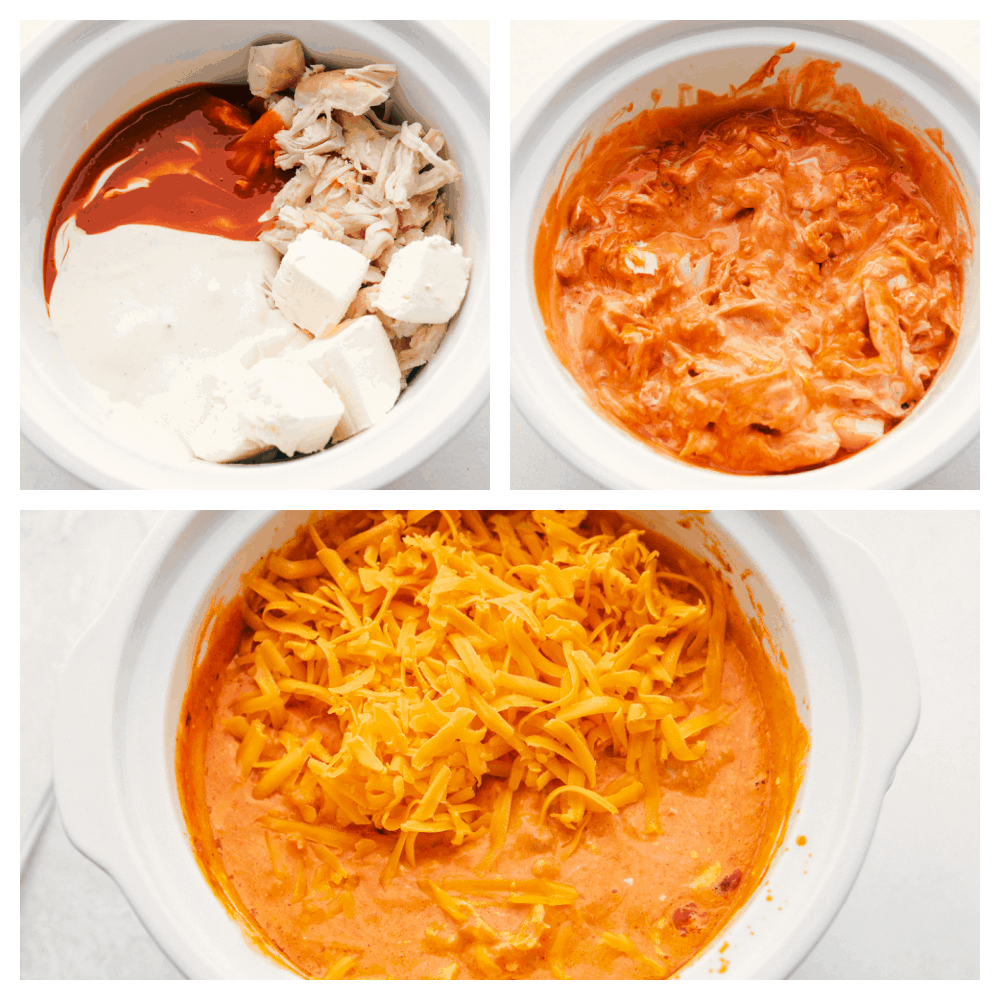 Putting the ingredients in a crockpot, after it has cooked and adding more cheese.