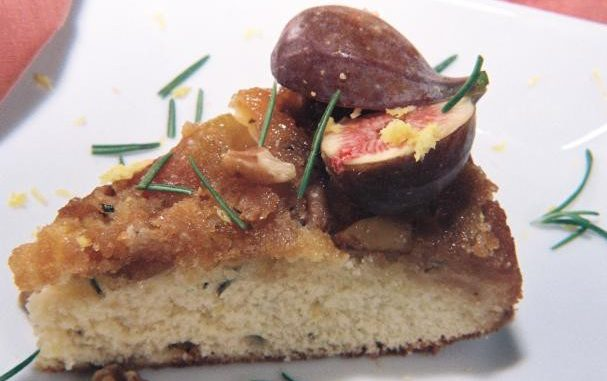 Fresh Fig, Walnut, Rosemary Upside Down Cake And A Crisp Citrusy Chardonnay