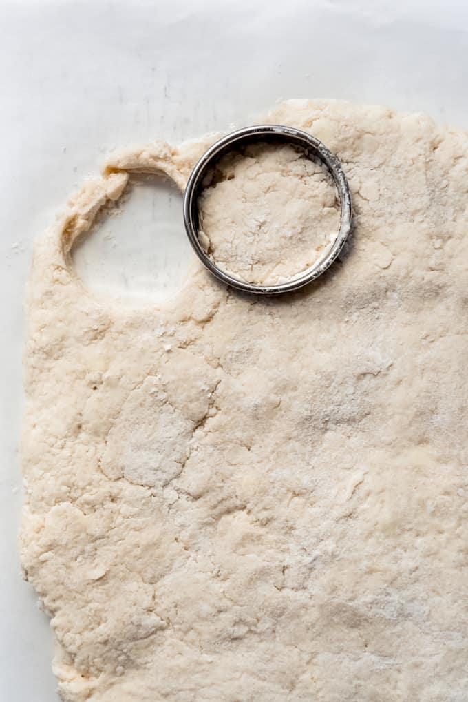 a round biscuit cutter cutting out dough