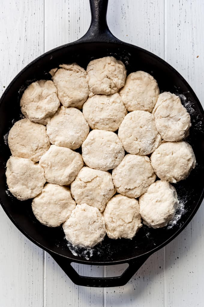 biscuit dough in a cast iron skillet