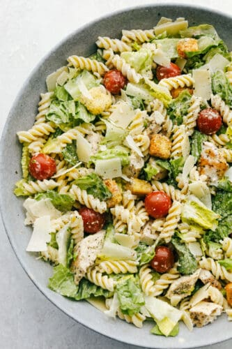 Caesar Salad with chicken and pasta in a bowl!