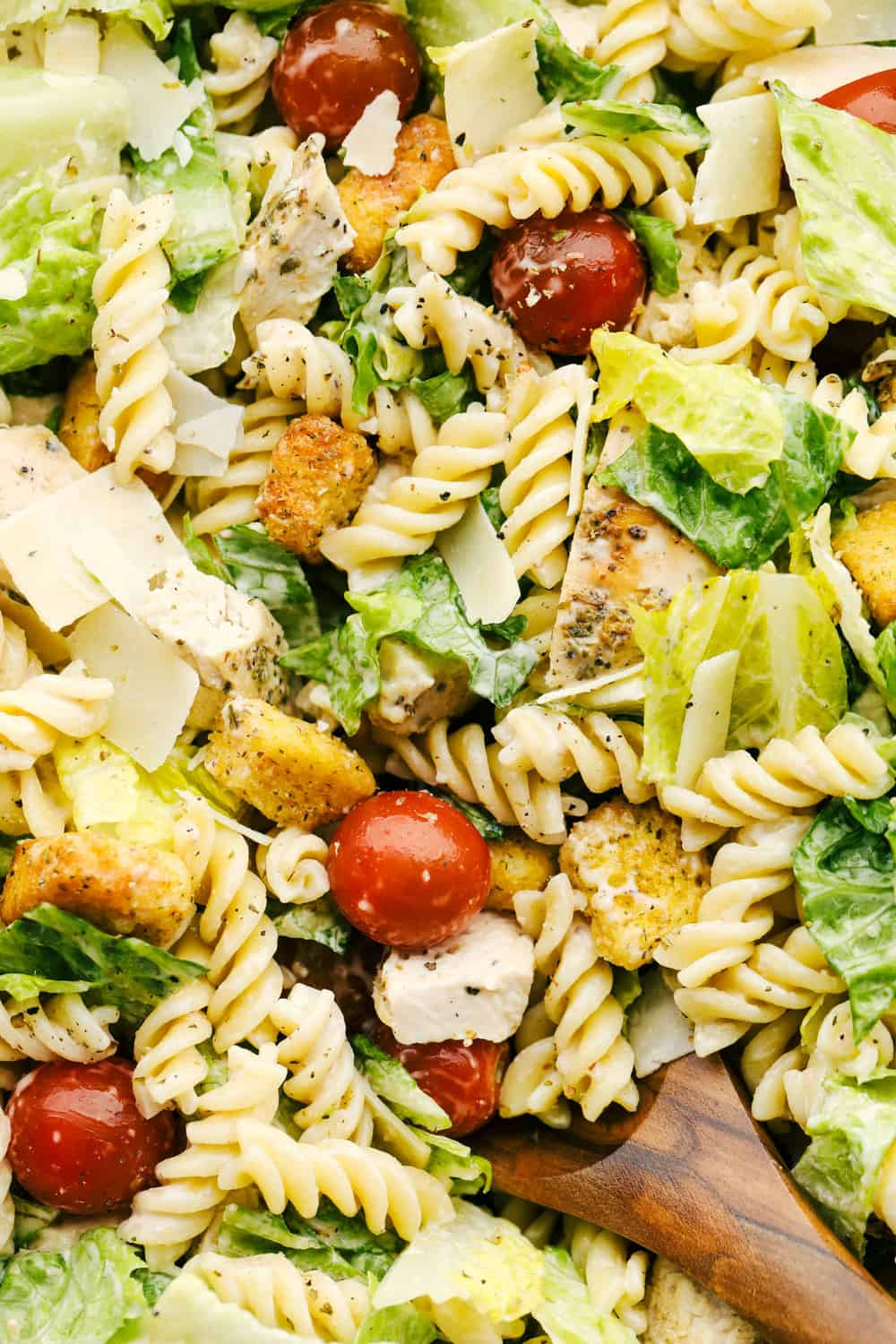 Up close picture showing the texture and flavors in the salad.