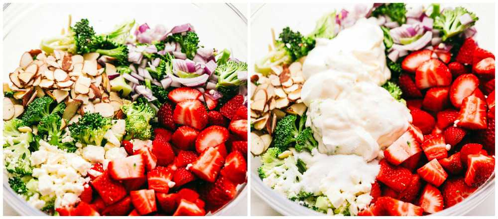A bowl of all the ingredients that is needed for the strawberry broccoli salad