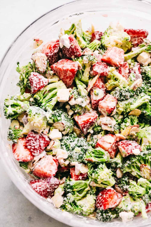 Bowl of Creamy Strawberry Broccoli Salad.