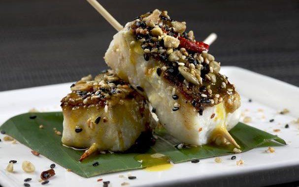 Anticuchos Of White Seabass With Aji Chile Honey Marinade & Semilla Salsa
