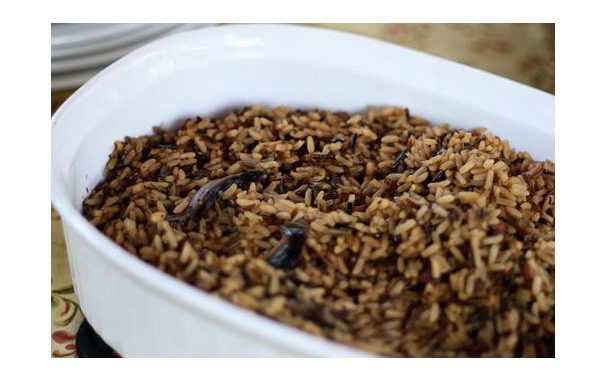 Wild Rice With Bacon, Mushrooms & Green Onions