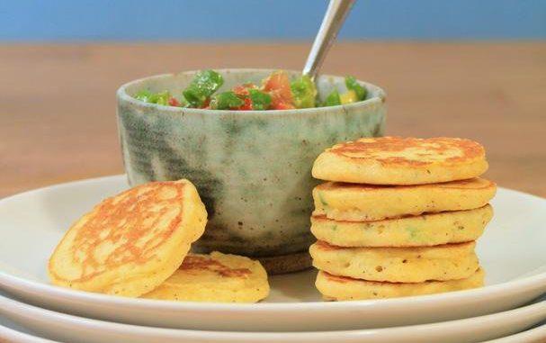 Jalapeño Corn Cakes With Avocado Salsa