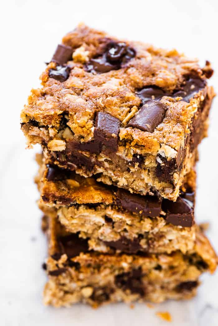 A stack of 3 oatmeal chocolate chip bars.