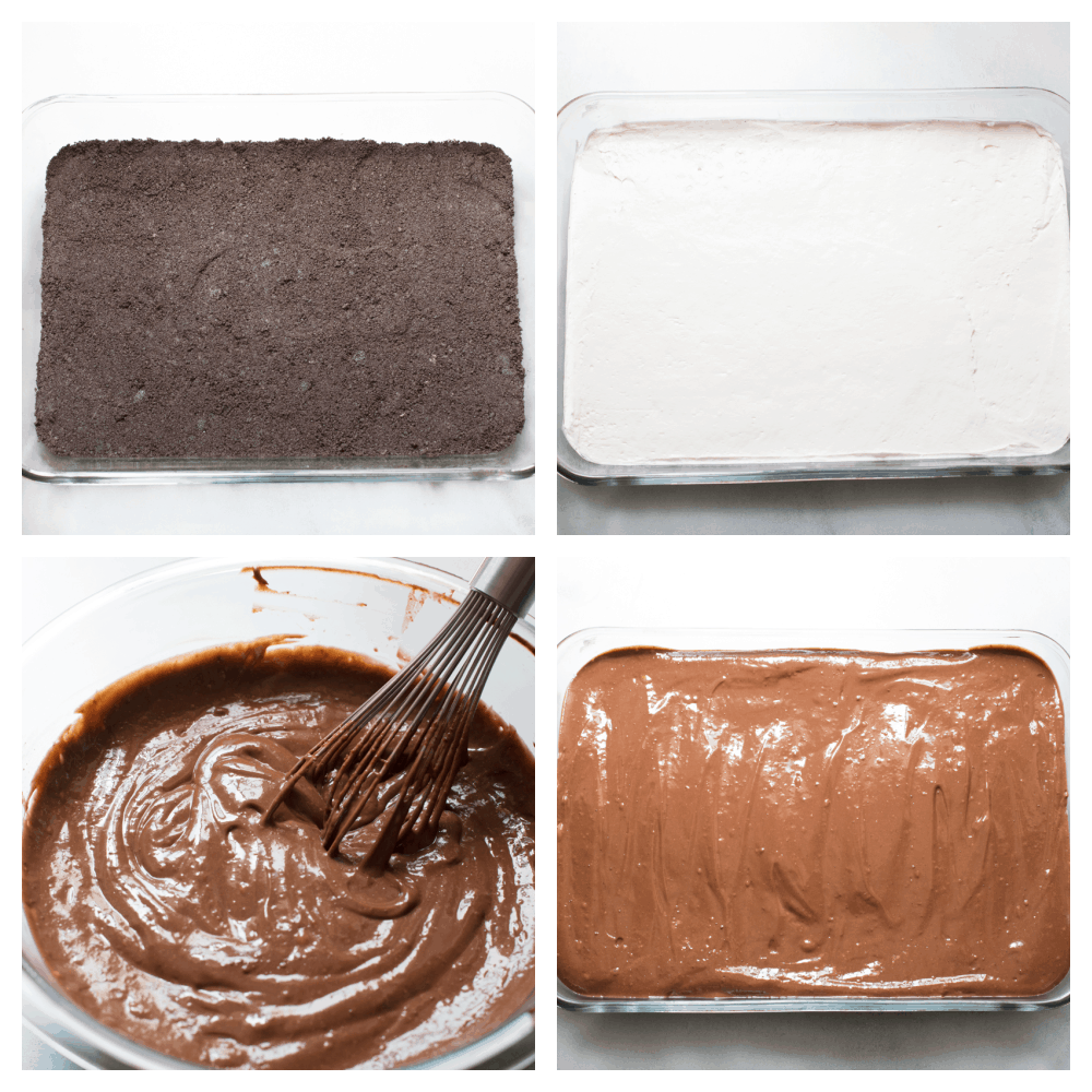 Oreo layer, cream cheese layer, chocolate pudding layer and putting it all together.