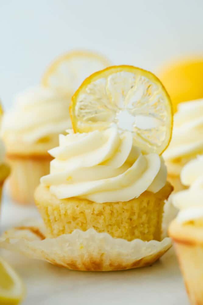 Lemon cupcake with lemon garnish