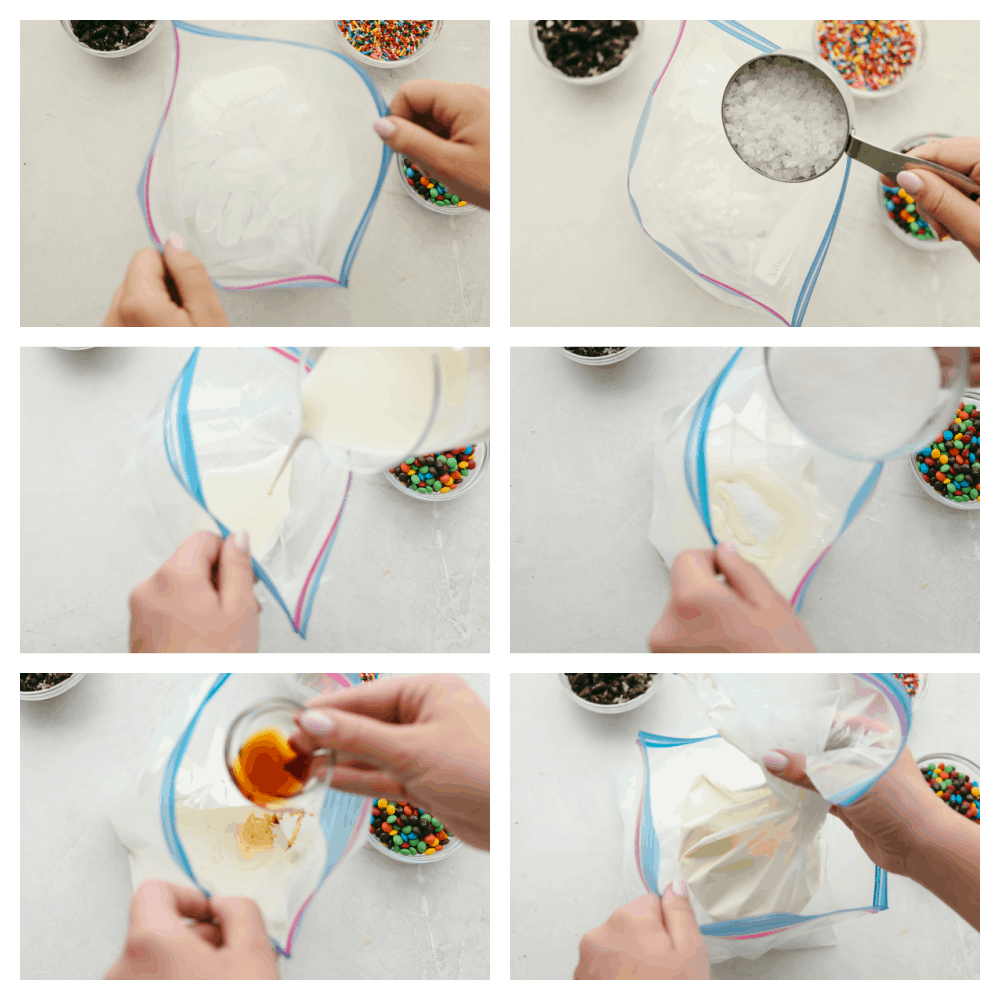 The steps to make the ice cream in a bag including ice, salt, milk and sugar.