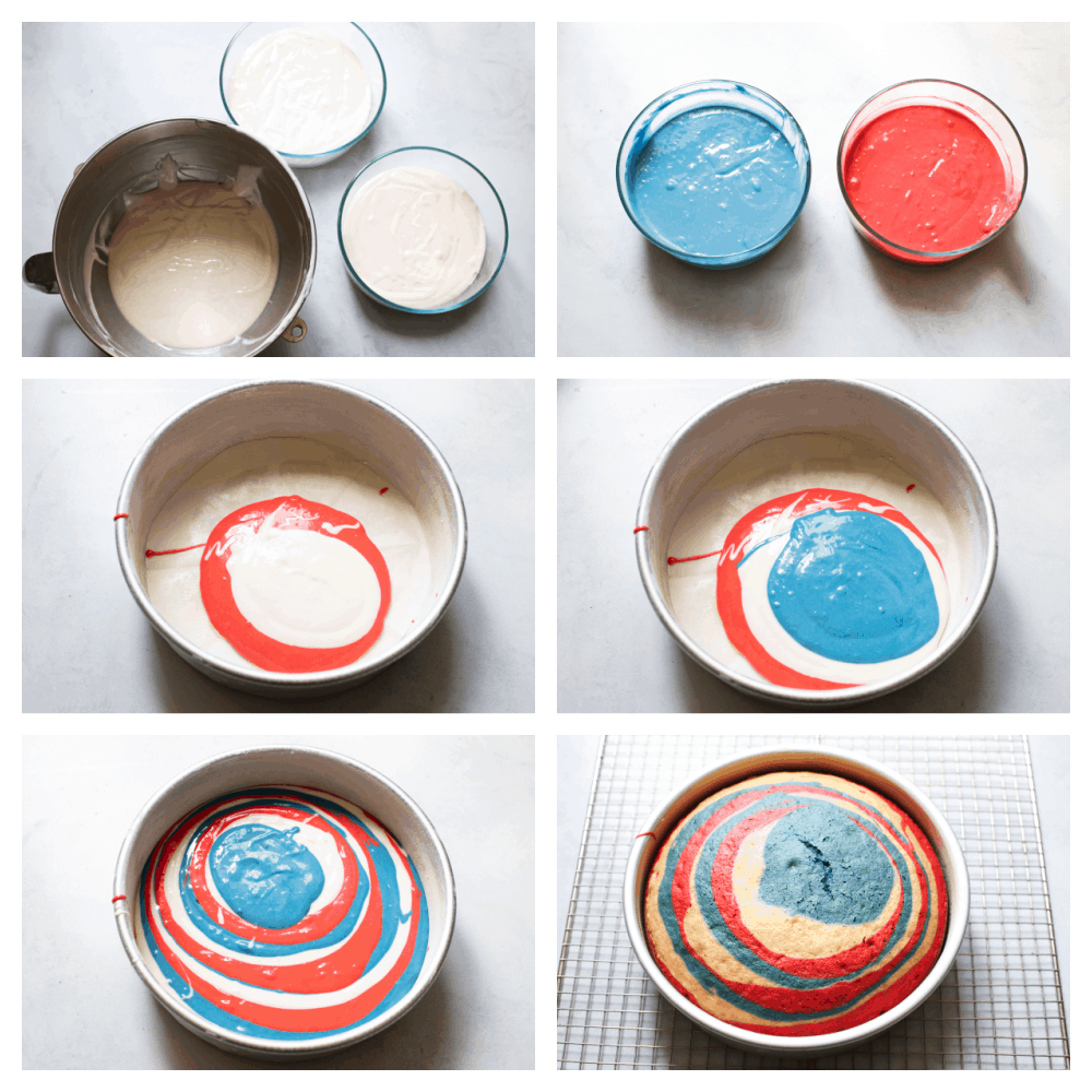 Making the batter, separating and coloring the mixes and then placing it in the cake tin to bake.