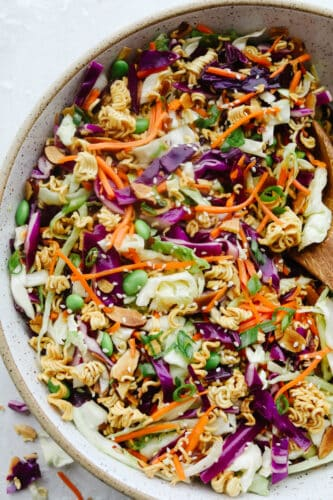 A bowl of colorful Asian Ramen salad.