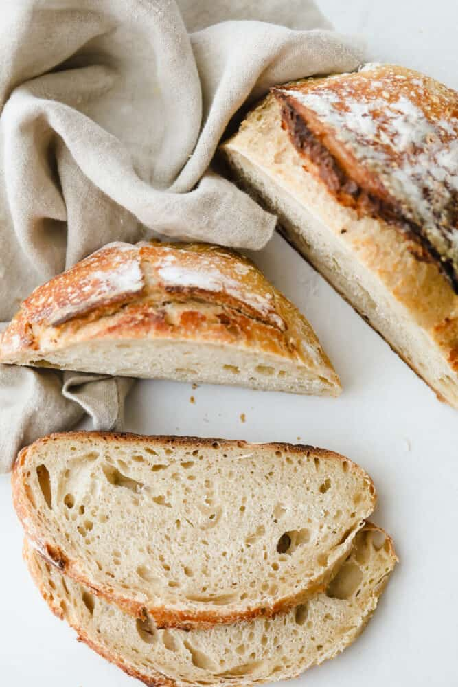 Slices of sourdough bread ready to eat.
