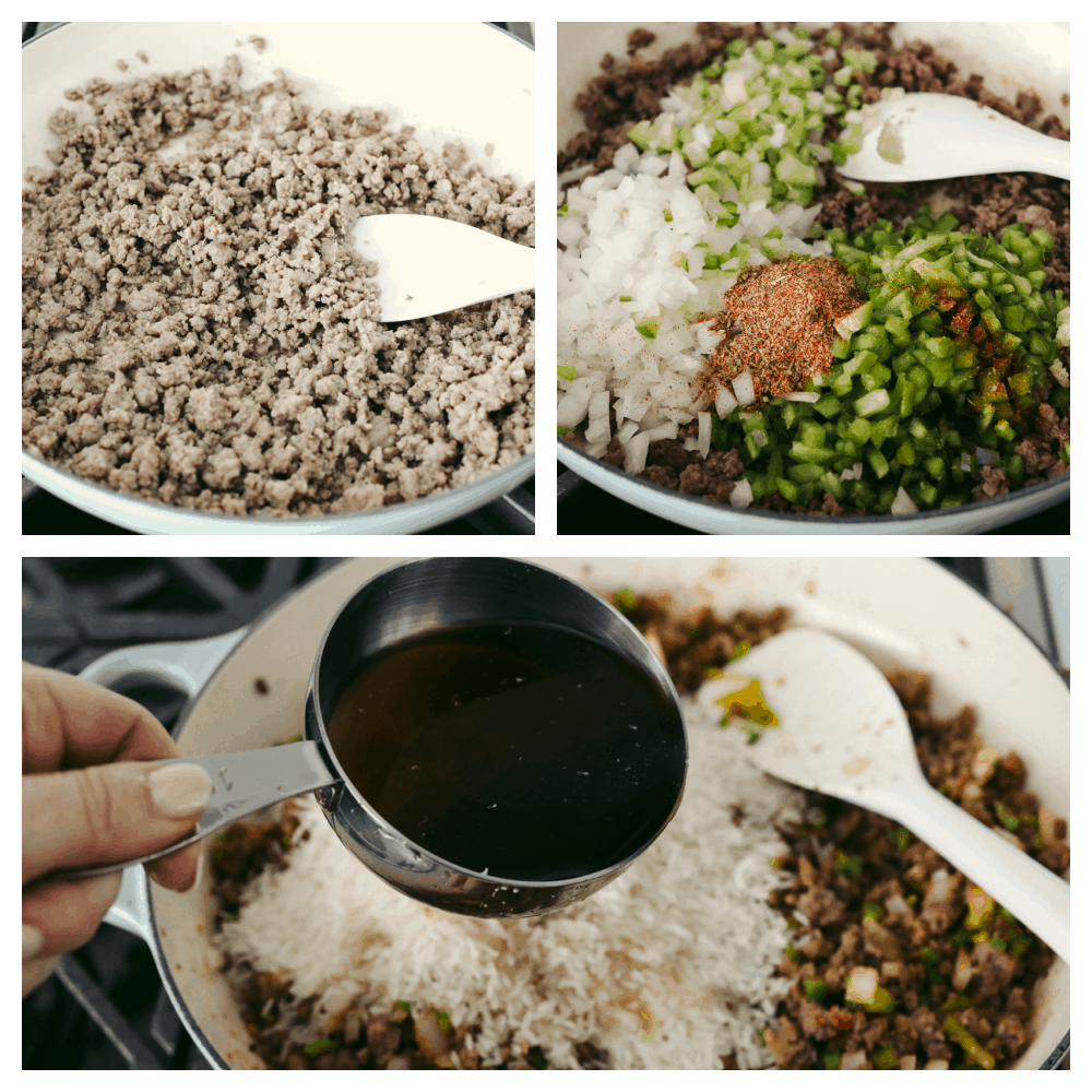 3 pictures showing the steps on how to make dirty rice.