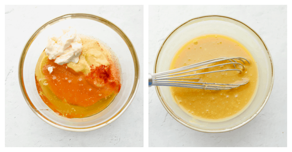 2 pictures showing ingredients being whisked in a bowl.