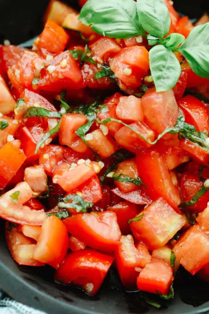 Closeup of tomato basil salad.